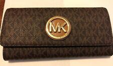 Michael Kors Signature Fulton Flap Continental Carryall Wallet, Brown/Acorn