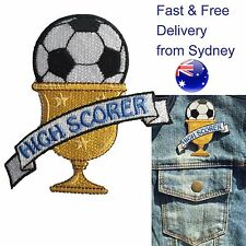 Soccer high scorer iron on patch - football trophy award embroidery patches