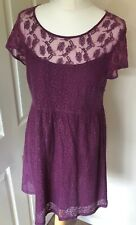Fat Face 12 Smock Dress Lacy Lined Maroon
