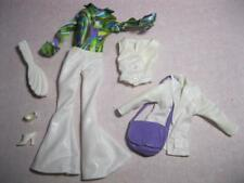 70s DISCO Barbie Doll Clothes Outfit WHITE BELL BOTTOM PANTSUIT PRINT SHIRT SHOE