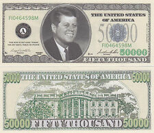 10 $50,000 Casino Style John F. Kennedy Novelty Money Bills #255