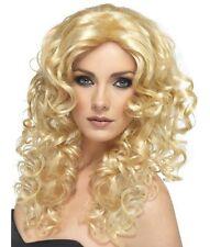 Femmes Glamour Fancy Dress Wig Blonde Enterrement vie jeune fille bouclés perruque de Nouveau Par Smiffys