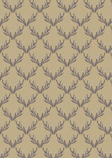 Fat Quarter Deer Stag Antlers on Natural 100% Cotton Quilting Fabric