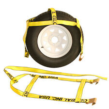 Two (2x) Yellow Demco Kar Kaddy Tow Dolly Straps Rugged Weave Axle w/ Hooks