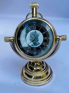 Vintage nautical brass table top decor victoria london 1876 standing clock gift