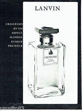 PUBLICITE ADVERTISING 116  1962  Lanvin extrait  parfum Crescendo