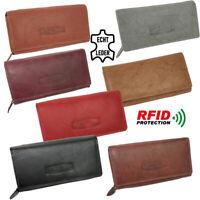 Damen Echt-Leder Geldbörse - großer Geldbeutel hat viele Fächer und RFID Schutz!