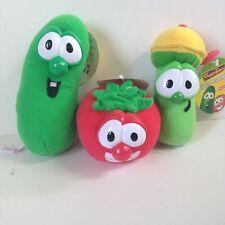 New VeggieTales Stuffed Plush Larry The Cucumber Junior Asparagus Bob The Tomato