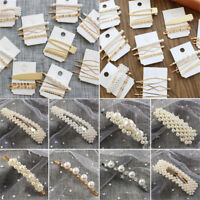 5Pcs Pearl Metal Hair Clip Hairband Comb Bobby Pin Barrette Hairpin Headdress TR