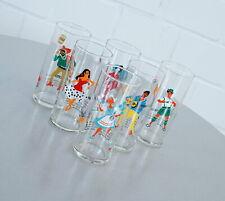 6 seltene Rockabilly Trink Gläser Likörgläser mit Rezepten Vintage 50er J. RAR