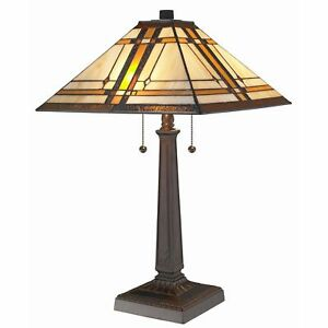 Table Lamp Tiffany Mission Style Beige Stained Glass Shade Dark Brown Finish