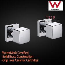 Cubic handheld shower head set wall 1/4 turn twin taps bath spout mixer Chrome