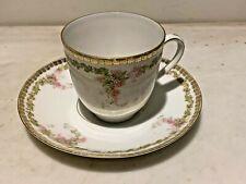 Antique MZ Austria Hand Painted Demitasse Cup & Saucer Gold Trim Floral pattern