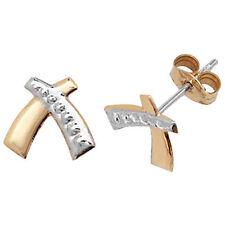 9 Carat Multi-Tone Gold Stud Fine Earrings