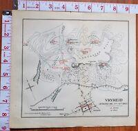 Boer Guerra Era Mapa/Batalla Plan Vryheid Attacked Dec 11-12th 1900 Sede Camp
