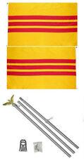 3x5 South Vietnam Vietnamese 2ply Flag Aluminum Pole Kit Set 3'x5'