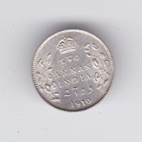 1910 Two 2 Annas India Silver Coin F-701