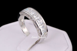 Mens Ring 925 Sterling Silver Wedding Band Rings Size 7-13