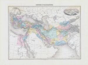 1892 Antique Map EMPIRE D'ALEXANDRE Empire of Alexander Palais De Ninus (NAI/5)