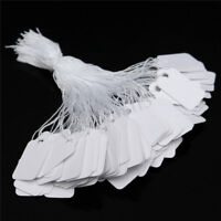 500 White Paper String Price Tag Tie Strung Border Label Jewellery Watch Display