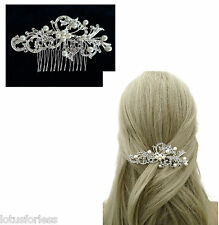 11 cm Diamante Capelli Pettine Diapositiva in una foglia Scroll Design da sposa in tono argento