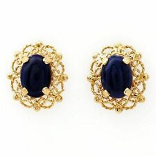 1.70ctw Genuine Lapis lazulis Earrings Solid Yellow Gold