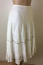 Esprit Skirt White Size 12 Gypsy Boho Linen Lined Cruise Holiday Boots