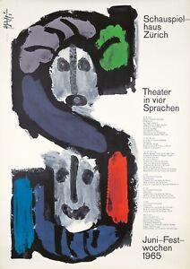 Originale Vintage Poster Piatti Svizzera Schauspielhaus Zurigo Teatro 1965