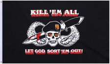 3x5 Black Kill 'em All Let God Sort 'em Out Flag 3'x5' Military Flag USA SELLER