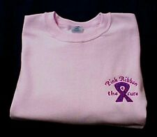 Breast Cancer Sweatshirt 2XL Awareness Ribbon 4 the Cure Pink Crew Neck Blend