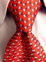 Men's Paolo Della Vigna Red Silk Tie Hand Made in Italy A28117