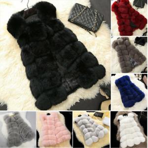 Womens Faux Fur Gilet Vest Winter Warm Sleeveless Waistcoat Jacket Coat Outwear
