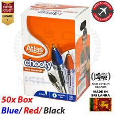 Atlas Ballpoint Writing Pens Blue Black Red School Office College 1 Box (50 Pen)