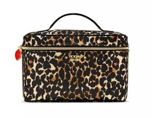 NEW Victoria Secret Leopard WEEKENDER TRAIN CASE Set Cosmetic Makeup NWT