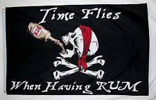 Time Flies When Having Rum Pirate Flag 3' X 5' Indoor Outdoor Banner