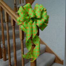 "10"" WIDE GREEN & ORANGE POLKA DOT BOW FOR EASTER, HALLOWEEN, BIRTHDAY DECORATION"