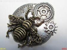 Steampunk pin badge brooch silver bee Manchester clock watch timepiece