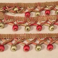 """NEW! BALL FRINGE! 2 YARDS 1 1/2"""" WIDE FOR ACCENTS TO SEWING PROJECTS CRAFTS ETC"""