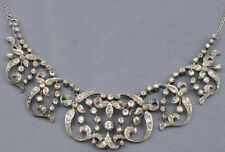 6.50cts ROSE CUT DIAMOND ANTIQUE VICTORIAN LOOK 925 SILVER NECKLACE