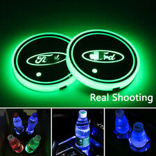 2PCS LED Car Cup Holder Lights Pad for Ford Interior Atmosphere Lamp Lights