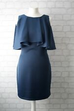 TopShop Bleu Marine Satin Feel Cape Col Robe Taille 10