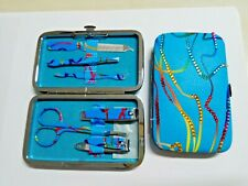 6PCS Pedicure Manicure Set Nail Care travel Kit Case rhinestone synthetic crysta