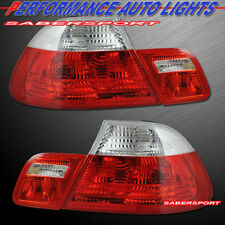 Red Clear Taillights + Trunk Light 4pcs for 2000-2003 BMW E46 3-Series 2dr Coupe