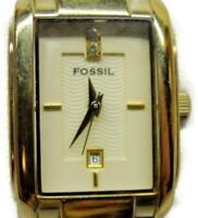 Fossil 5 ATM WR Diamond Date Ladies Bracelet Watch Analog Quartz New Batt