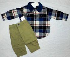 Khaki Pants Set Gymboree Flannel Shirt 2pc Cotton Boy size 3-6 month New