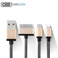 iPhone 4 5 6 6S + Samsung (8 Pin 30 Pin Micro) 3 in 1 USB Charger Cable Adapter