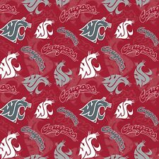 College Cotton WSU Washington State Cougar Quilt Fabric Sykel Red Sold by 1/2 Yd