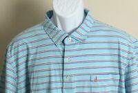 Johnnie-O Men's red, white and blue striped short sleeve golf polo shirt 2XL XXL