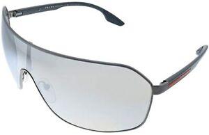 Prada PS 53V WW2B 37-137-125 Grey Metal Pilot Sunglasses Silver Mirror Lens