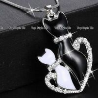 XMAS GIFTS FOR HER - Black & White Crystal Cat Necklace Women Gifts for Girls K9